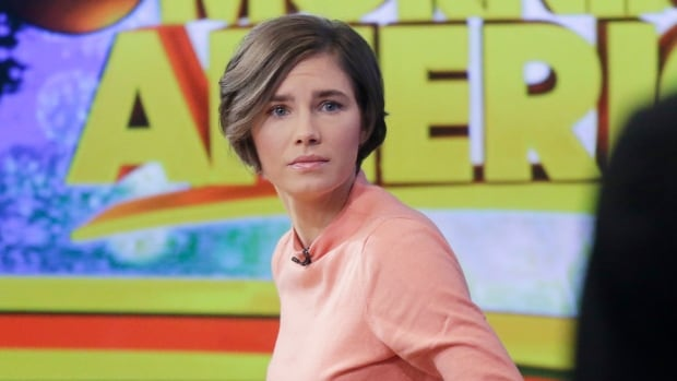 "Amanda Knox prepares to leave the set following a television interview on Jan. 31, 2014 in New York. Knox said she will fight the reinstated guilty verdict against her and an ex-boyfriend in the 2007 slaying of a British roommate in Italy and vowed to ""never go willingly"" to face her fate in that country's judicial system ."
