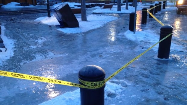 A water main break in Canmore overnight has created sheets of ice on some of the town's downtown streets.