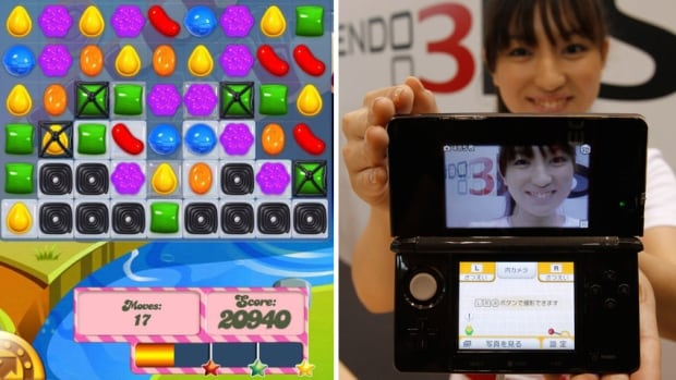 Candy Crash Saga, shown in a screen grab at left, was ranked as the top-selling app game in a new market research analysis. For the first time, sales in Apple's iOS store and Google Play surpassed revenues made by makers of traditional dedicated gaming devices like Nintendo's 3DS, shown at the right.
