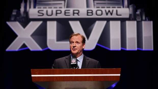 NFL comissioner Roger Goodell speaks at a news conference on Friday in New York ahead of Super Bowl XLVIII Sunday.