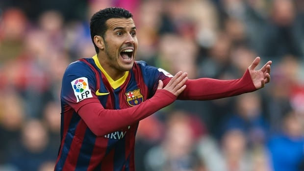 Pedro of FC Barcelona reacts during the La Liga match between FC Barcelona and Valencia CF at Camp Nou on Saturday in Barcelona, Spain.