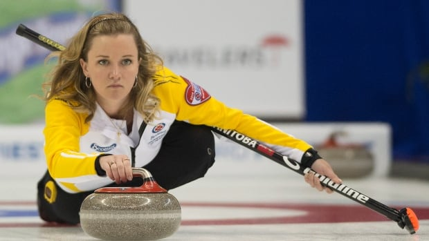 Team Manitoba skip Chelsea Carey delivers her rock against team Saskatchewan during third draw curling action at the Scotties Tournament of Hearts in Montreal, Sunday, February 2, 2014. THE CANADIAN PRESS/Graham Hughes