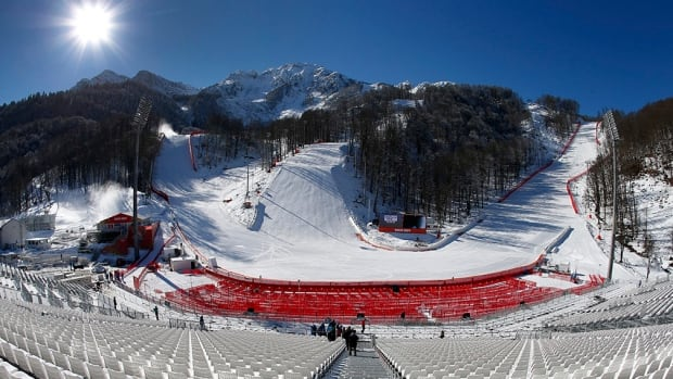 A general view from the spectator seating area of the finish area of the Alpine Skiing events of the Sochi 2014 Winter Olympic Games in Rosa Khutor, February 3, 2014.