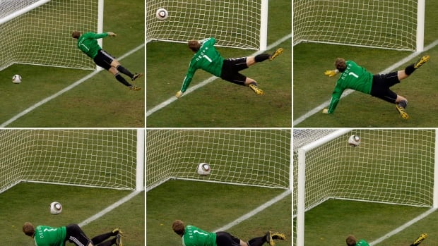 In this June 27, 2010 composite file photo, Germany's goalkeeper Manuel Neuer looks at a ball that hit the bar to bounce over the line during the World Cup round of 16 match against England.
