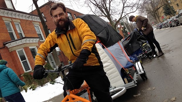 Abram Bergen runs Hamilton's first full-service bicycle moving co-op. He's hoping that better local cycling infrastructure will get more people out on the roads on bikes.