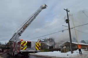 Aerial ladder truck at Fitzgerald St. fire