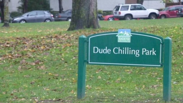 The fake Dude Chilling Park sign was first posted in East Vancouver's Guelph Park by artist Viktor Briestensky