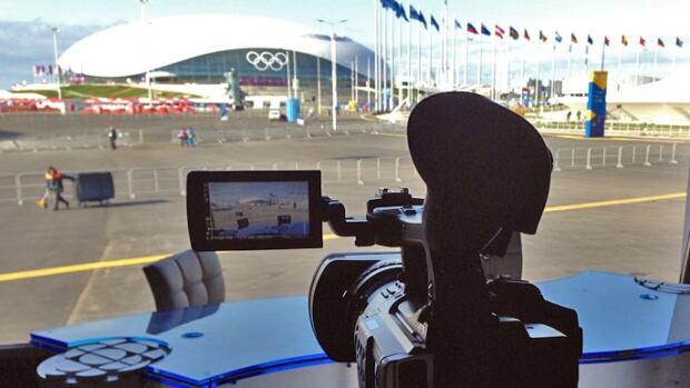 CBC News's broadcast position faces the Bolshoi Hockey Arena.