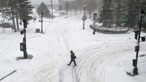 A man walks through the snow in downtown Halifax in January. Wednesday's storm will mark the third midweek snowfall in a row.