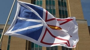 Newfoundland flag outside house of assembly