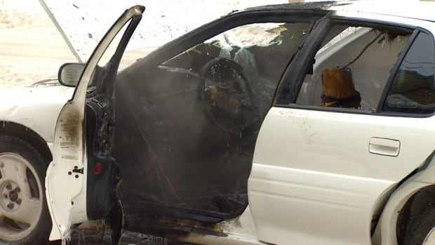 The interior of a four-door white Pontiac Grand Am was gutted by fire Wednesday morning in Iqaluit.