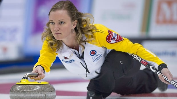 Team Manitoba skip Chelsea Carey delivers a rock in a 15-3 rout of Quebec at the Tournament of Hearts on Wednesday.