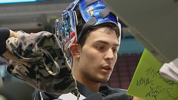 The Montreal Canadians goalie is at the net at the 2014 Winter Olympics.
