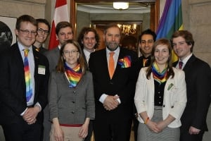 NDP Leader Tom Mulcair and Young New Democrats - Pride Tie Day
