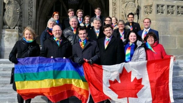 New Democrat MPs show their support for gay rights on Thursday, the eve of the Olympic Games in Sochi.