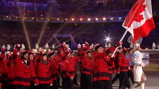 The Canadian Olympic athlete delegation enters Sochi's Fisht Olympic Stadium as part of the opening ceremonies Friday.