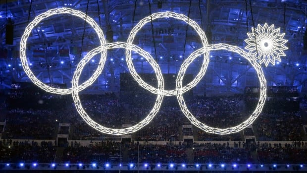 One of the rings forming the Olympic Rings fails to open during the opening ceremony of the 2014 Winter Olympics in Sochi, Russia, Friday.