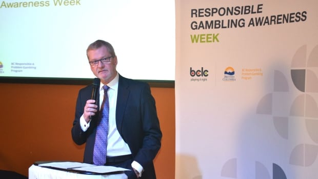 "Michael Graydon, who was president and CEO of the B.C. Lottery Corporation until last week, is seen here on Jan. 9 2013, kicking off ""Responsible Gambling Awareness Week"" at Chances Gaming Entertainment in Kamloops."