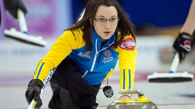 Alberta skip Val Sweeting, pictured here, jumped on a couple of mistakes by Saskatchewan counterpart Stefanie Lawton to pull out a 8-7 win Saturday to advance to the semifinals at the Tournament of Hearts.