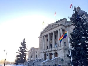 Rainbow flag at Saskatchewan legislature