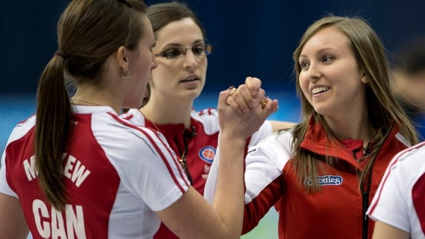 Team Canada's Rachel Homan, right, celebrates with teammates against Alberta in the finals at the Scotties Tournament of Hearts Sunday, February 9, 2014 in Montreal.