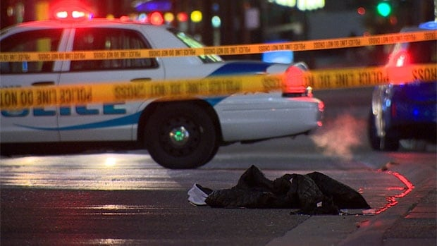 The aftermath of the stabbing on February 9, 2014 in Vancouver's entertainment district. Robert Tyson Smith, 28, died after he got out of his taxi to confront a man kicking and yelling at the car.