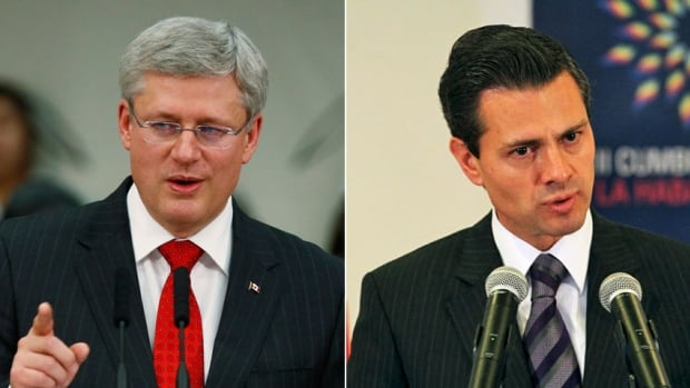 Mexican President Enrique Pena Nieto, right, will host Prime Minister Stephen Harper and U.S. President Barack Obama next week for a continental summit. Harper is not expected to drop visa requirements for Mexican travellers during his visit, a senior government source tells CBC News.