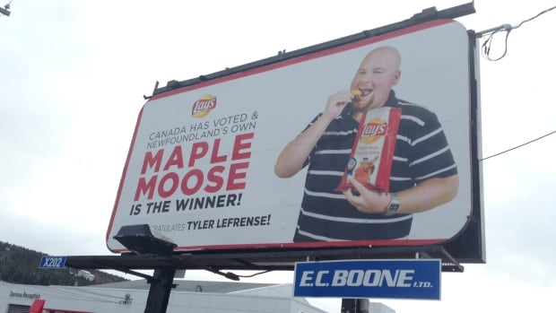Tyler LeFrense appeared with his maple-moose potato chips on advertisements for Lay's, including this billboard in St. John's.