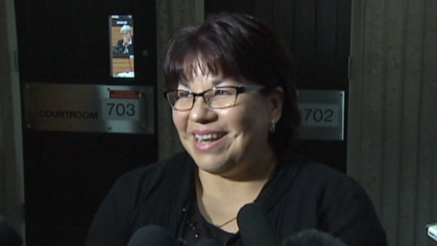 Chief Andrea Paul of the Pictou Landing First Nation in Nova Scotia addresses reporters Tuesday after a judge ordered a man to take comments about her and her family off his Facebook page.