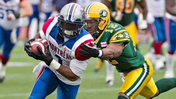"Montreal Alouettes receiver Arland Bruce was fined for a crude posting on social media urging Michael Sam to ""submit to God."""