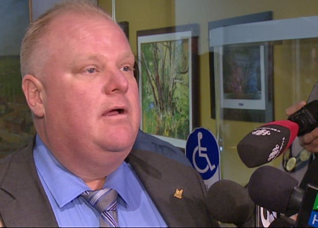Mayor Rob Ford speaks to reporters on Tuesday