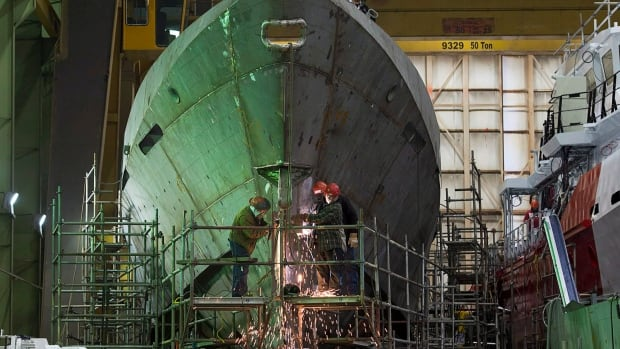 Technicians work on a hull at Halifax Shipyard in Halifax. The Irving-owned facility is the federal government's go-to yard for combat vessels, including the multi-billion dollar frigate replacement program.