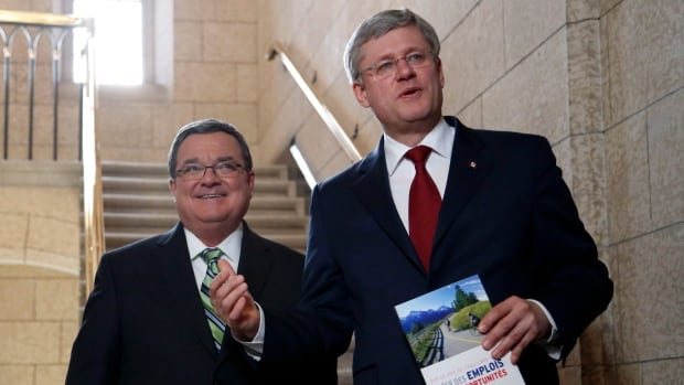 Minister of Finance Jim Flaherty and Prime Minister Stephen Harper enter the House of Commons on budget day.