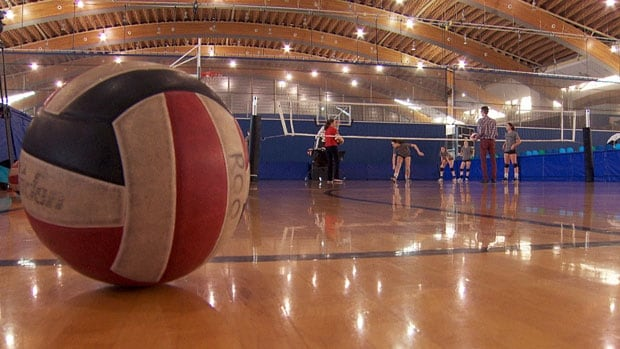A team of grade 12 girls work on their volleyball skills through a special program at the Richmond Olympic Oval.