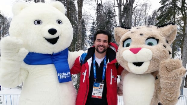 Me with the Sochi 2014 mascots, Bear and Leopard.