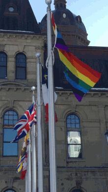 Gay pride flag flying at the New Brunswick legislature