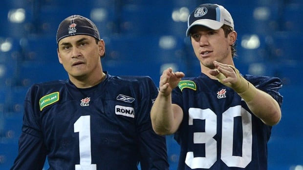 The Argonauts on Tuesday announced the re-signing of free agent Swayze Waters, right, to a two-year contract, while giving fellow kicker/punter Noel Prefontaine, left, his walking papers.