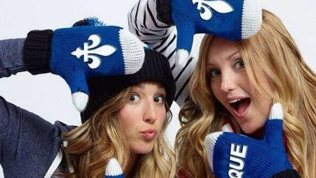 The Olympic medal-winning Dufour-Lapointe sisters were originally photographed wearing Canada mittens, but an industrious Photoshopper changed the maple leafs to the Fleur-de-lis.