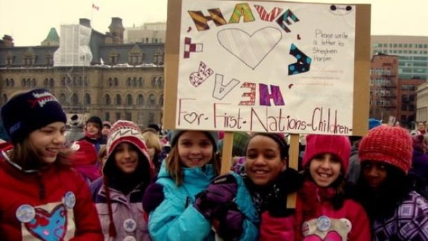 This gathering at Parliament Hill was for the annual youth-led Have a Heart Day in 2012. On Tuesday, the Canadian Human Rights Tribunal ruled the federal government discriminates against First Nation children on reserves by failing to provide child welfare services equal to those elsewhere.
