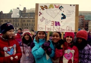 Children rallying for First Nations children