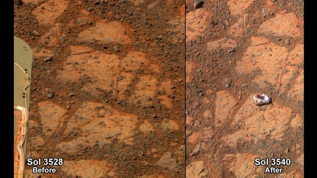 This composite image shows before-and-after images taken by the Opportunity rover. Researchers have determined the rock shaped like a jelly doughnut on the right is a piece of a larger rock broken and moved by the wheel of NASA's Mars Exploration Rover Opportunity in early January.