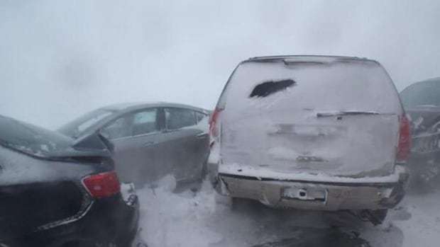 Poor visibility resulted in a nine-vehicle pileup at the Confederation Bridge, say RCMP.