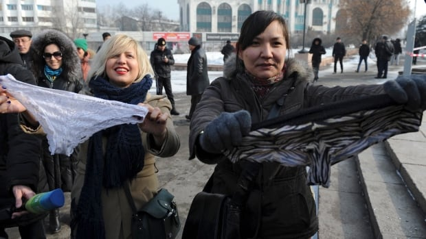 Protesters decry a forthcoming trade ban on synthetic underwear that has Russia and her economic allies with their knickers in a twist.