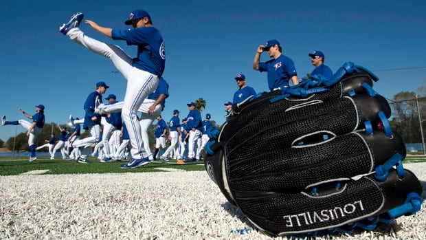 Toronto Blue Jays pitchers and catcher limber up Monday morning on the first official day of spring training in Dunedin, Fla.