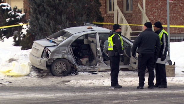 A five-year-old boy died days after this car crash the morning of Feb. 13 in St-Hubert, Que. The sedan was carrying the boy's 14-year-old sister and their dad.