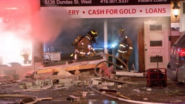 A part of Dundas Street West was closed following a four-alarm fire in the city's west end.
