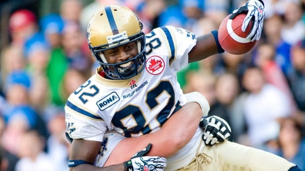 Winnipeg Blue Bombers' Terrence Edwards celebrates a touchdown during a game against the Montreal Alouettes in Montreal.