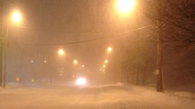 The snow is having a serious impact on visibility, and is expected to continue through the morning.