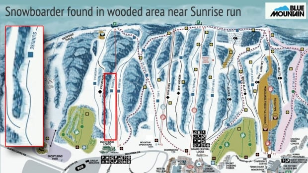 A Blue Mountain spokesperson says the snowboarder, later identified by police as Taylor Ogram, 20, was found near the South Base Lodge on the Sunrise run.