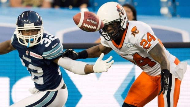 New Blue Bombers defensive back Korey Banks, right, has been a CFL all-star five times, a division all-star eight times and has nabbed 37 interceptions in his career, including 27 as an eight-year starter with the Lions.